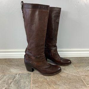 FRYE. Brown Jane Strappy Boot Sz 9